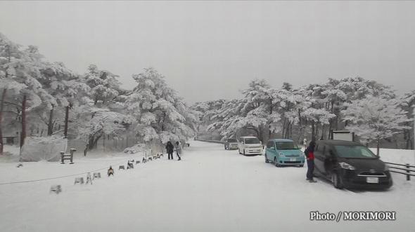 えびの高原三叉路から鹿児島県へ向かう道路