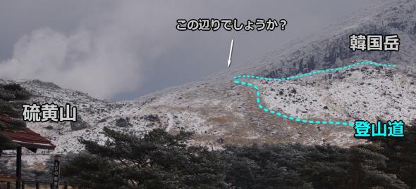 硫黄山 新たな噴気点の位置