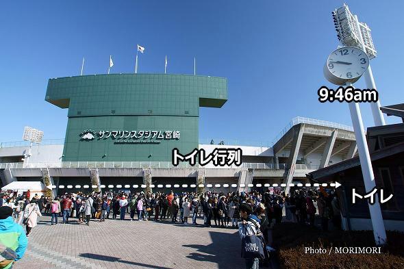 スタジアム前のトイレの行列