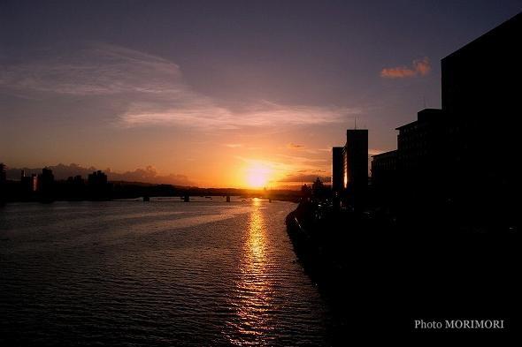 橘公園 大淀川の夕景
