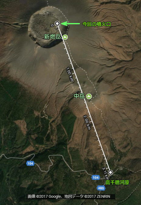 高千穂河原までの距離