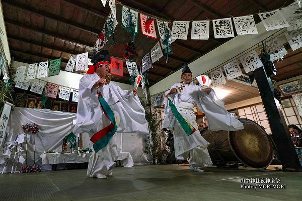 山中神社夜神楽(尾狩神楽)2番 御小屋の舞(みこやのまい)