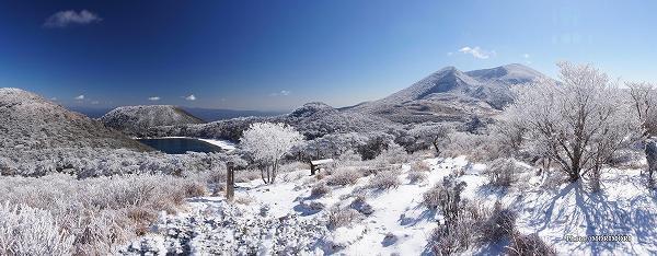 雪化粧した えびの高原 二湖パノラマ展望台付近より