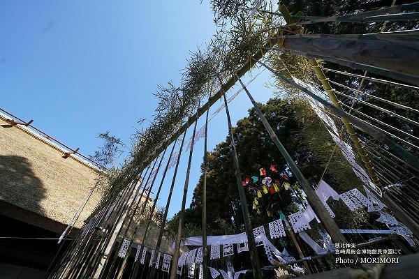 宮崎県総合博物館 民家園での 穂北神楽 竹で囲まれた神庭