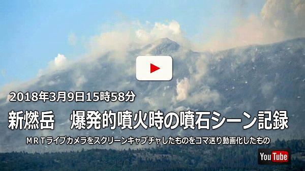 新燃岳噴火時の噴石シーン