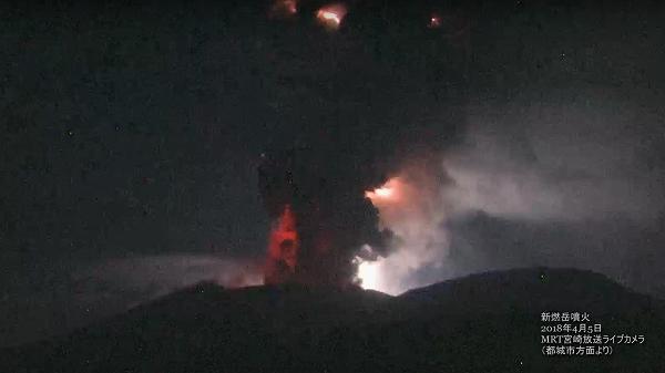 2018年4月5日 新燃岳噴火(MRTカメラ映像)