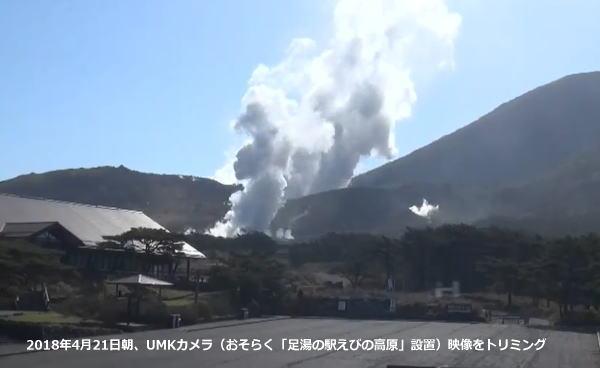 えびの高原 硫黄山 4月21日朝のUMKライブカメラ映像