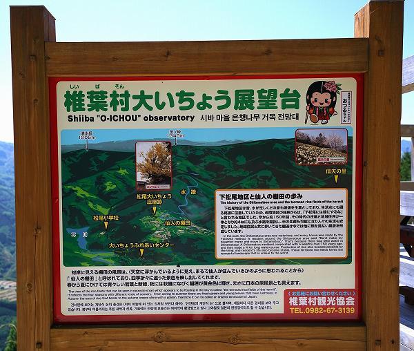 椎葉村 仙人の棚田・大いちょう展望台 案内板