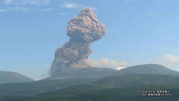 新燃岳噴火(2018年6月22日)MRTライブカメラ映像 2