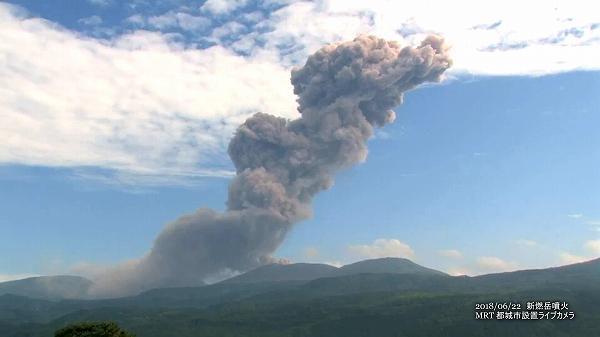 新燃岳噴火(2018年6月22日)MRTライブカメラ映像 3