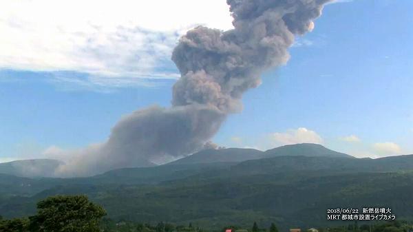新燃岳噴火(2018年6月22日)MRTライブカメラ映像 4