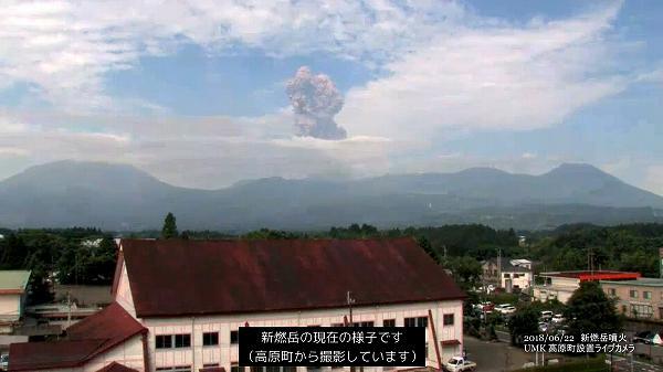 新燃岳噴火(2018年6月22日)UMKライブカメラ映像 6