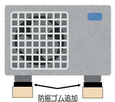 エアコン室外機 防振ゴム設置イメージ