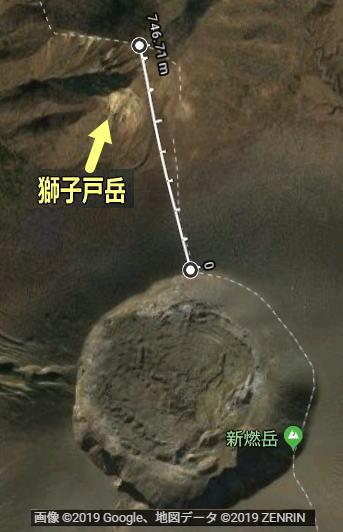獅子戸岳の新燃岳の距離