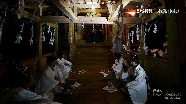 神社本殿で神迎え 栂尾(つがお)神楽にて