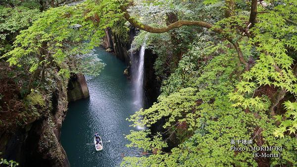 新緑の高千穂峡 真名井の滝とボート
