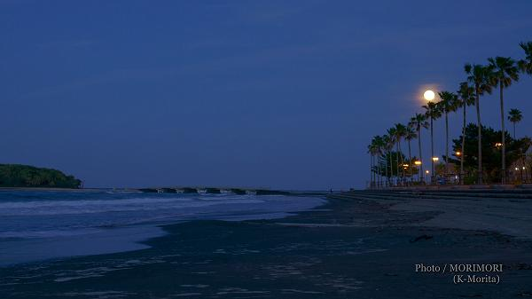 青島と月 フラワームーン