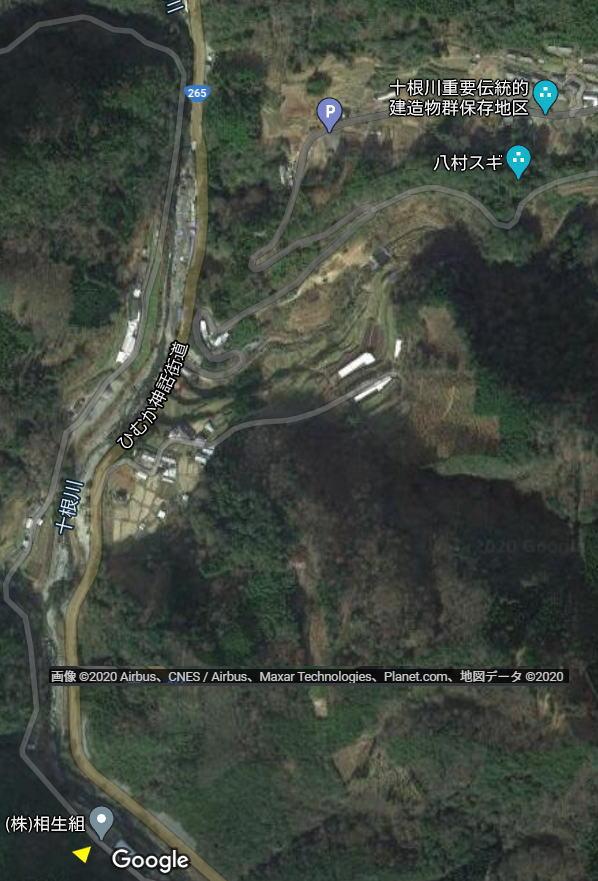 椎葉村 崖崩れ位置
