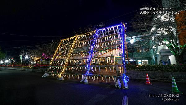 田野駅前ライトアップ 大根やぐらイルミネーション 4