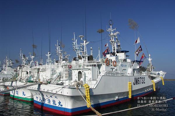 日南市 目井津港 かつを一本釣漁船