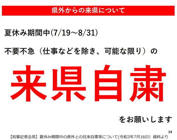 【知事記者会見資料】夏休み期間中の県外との往来自粛等について 2