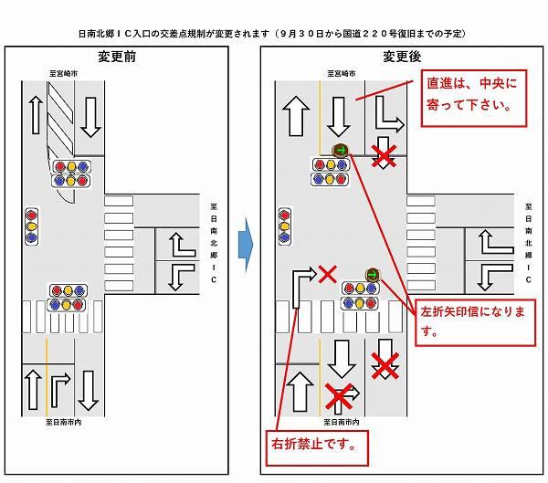 交通規制 日南北郷インターチェンジ入口交差点の交通規制変更