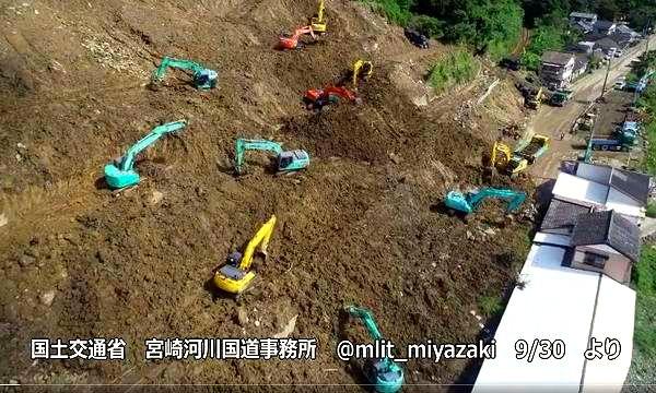宮崎市〜日南市 国道220号 JR日南線 小内海駅付近の土砂崩れ復旧工事