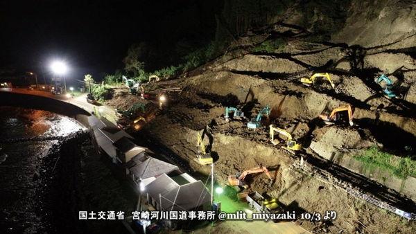国道220号 内海 土砂崩れ復旧 夜間工事
